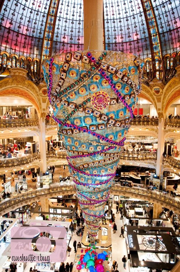 The upside-down tree inside Galeries-Lafayette
