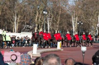 at the changing of the guard in front of Buckingham Palace